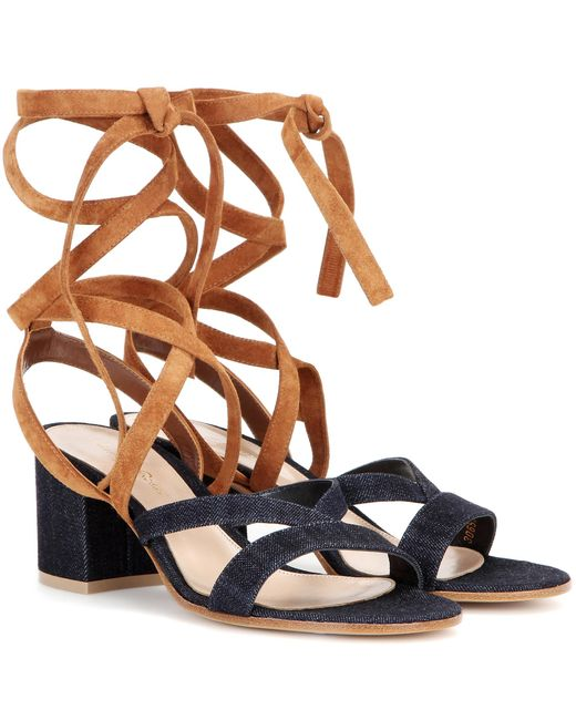 Gianvito Rossi - Blue Janis Low Denim And Suede Sandals - Lyst