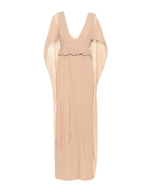 Chloé Natural Grecian Pleated Crêpon Gown