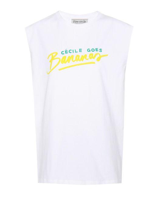 Être Cécile - White Printed Cotton-jersey Tank - Lyst