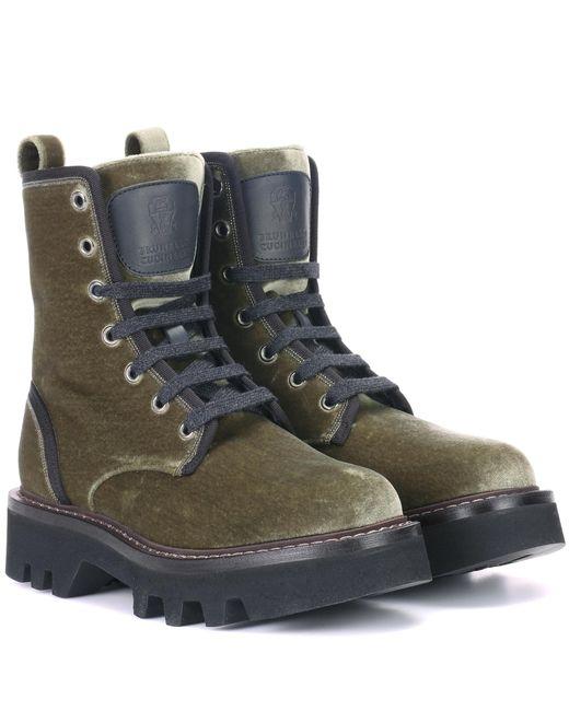Brunello Cucinelli - Green Velvet Ankle Boots - Lyst