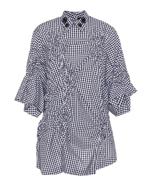 Simone Rocha | Blue Checked Cotton Blouse | Lyst