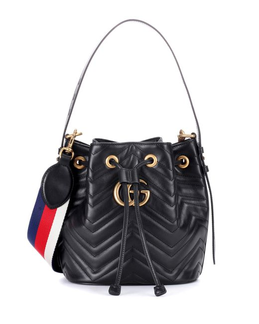 Gucci - Black Gg Marmont Leather Bucket Bag - Lyst