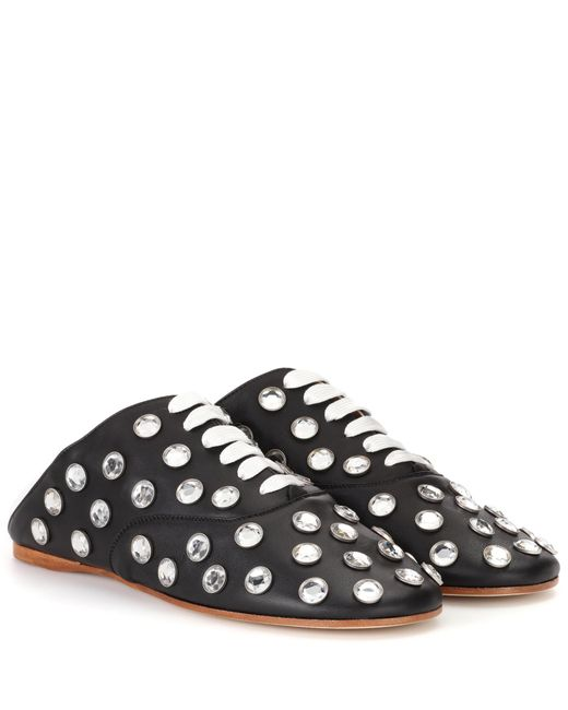 Acne | Black Mika Stone Leather Lace-up Slippers | Lyst