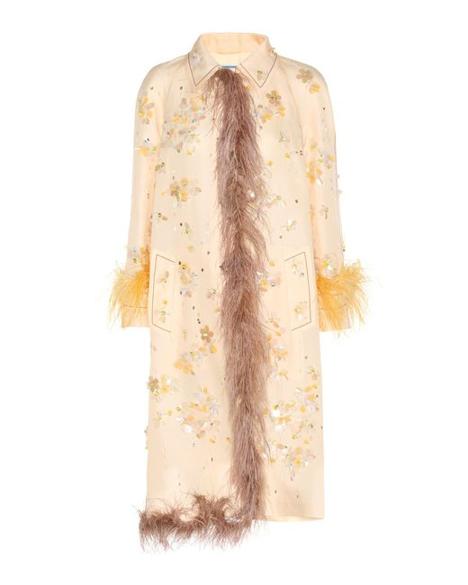 Prada Natural Embellished Silk Coat With Feather Trim