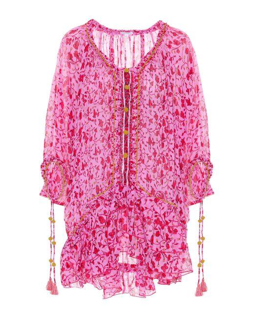 Poupette - Pink Fleur Embroidered Cotton Dress - Lyst