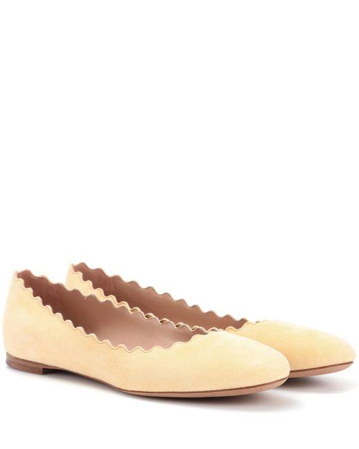 Chloé - Yellow Lauren Suede Ballerinas - Lyst