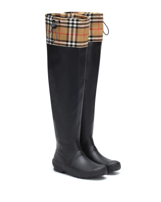 57a21a770172 Lyst - Burberry Freddie Vintage Check Rain Boots in Black - Save 31%