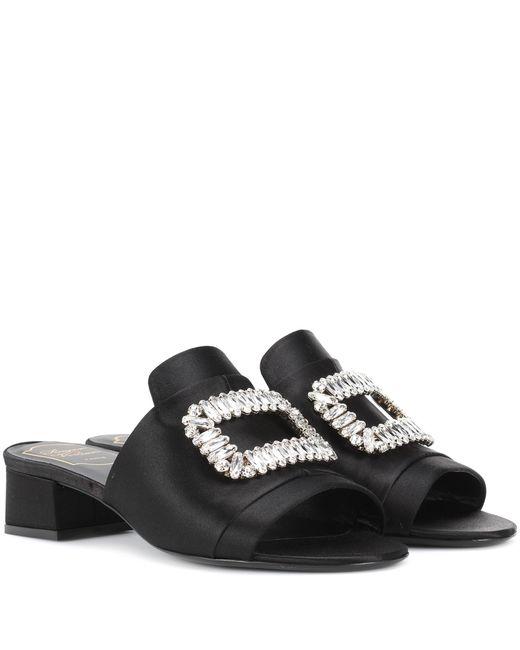 Roger Vivier Black Satin Embellished Sandals