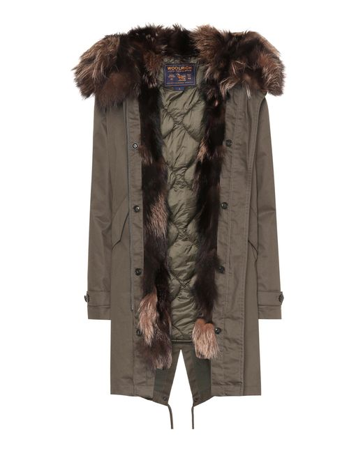 Woolrich - Green Military Fur-trimmed Parka - Lyst