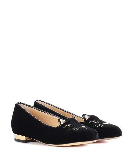 Charlotte Olympia | Black Velvet Kitty Flats | Lyst