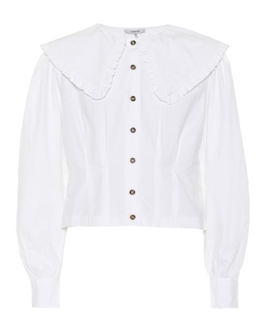 Ganni - White Cotton Poplin Cropped Shirt - Lyst