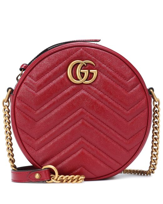 fcd7dc08b63 Gucci - Red GG Marmont Mini Leather Camera Bag - Lyst ...