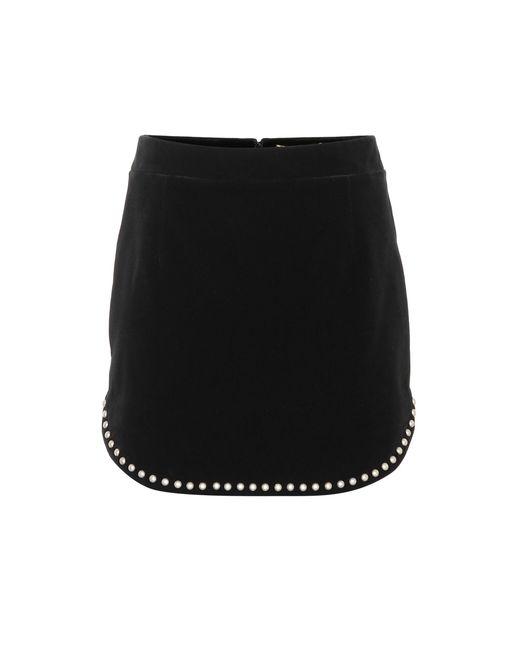 ffdb1cfd841 Saint Laurent - Black Embellished Velvet Miniskirt - Lyst ...