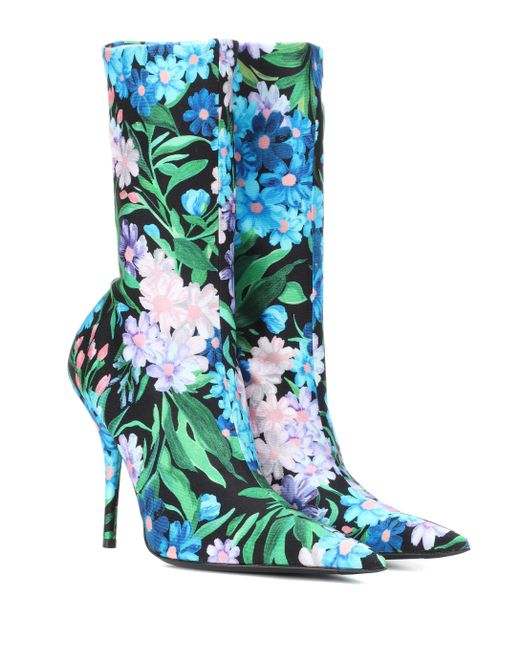 febe4070aa4d Balenciaga - Multicolor Knife Floral-printed Ankle Boots - Lyst ...