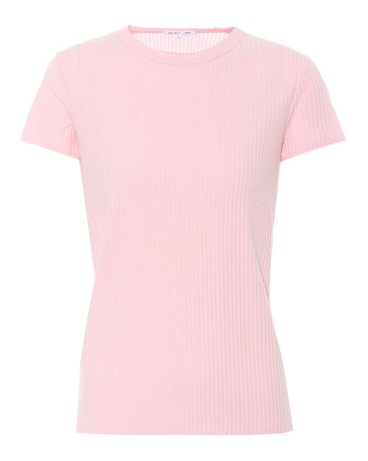 Helmut Lang - Pink Ribbed Cotton T-shirt - Lyst