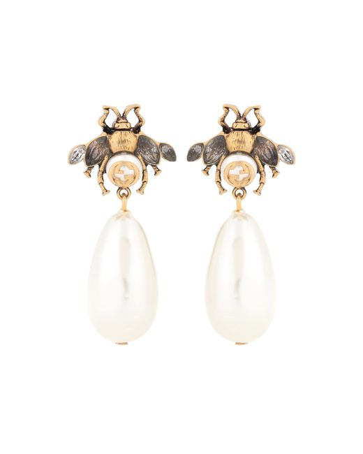 Gucci - White Brass And Crystal Earrings - Lyst