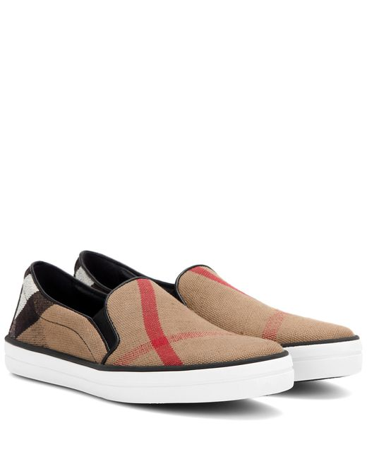 Burberry | Black Gauden Check Leather-trimmed Slip-on Sneakers | Lyst