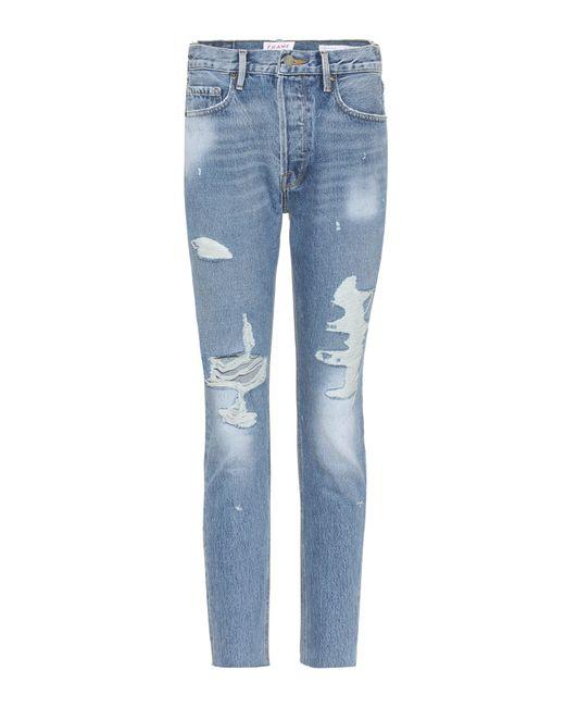 FRAME - Blue Distressed Jeans Le Original Skinny - Lyst