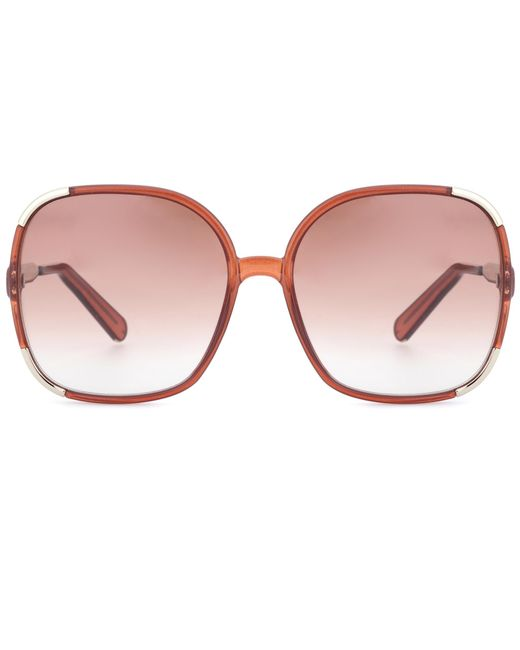 Chloé | Brown Oversized Sunglasses | Lyst