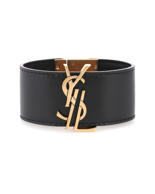 Saint Laurent | Black Embellished Leather Bracelet | Lyst