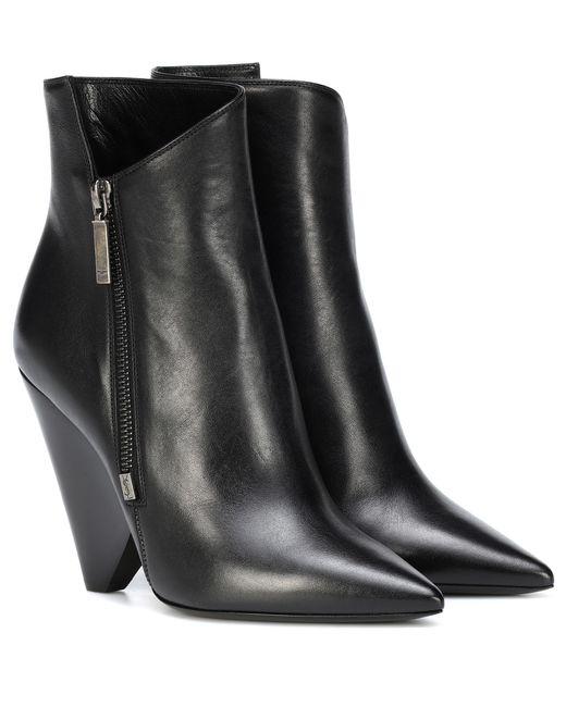 Saint Laurent - Black Niki 105 Leather Ankle Boots - Lyst
