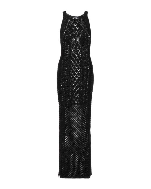 Balmain | Black Crocheted Cotton Maxi Dress | Lyst