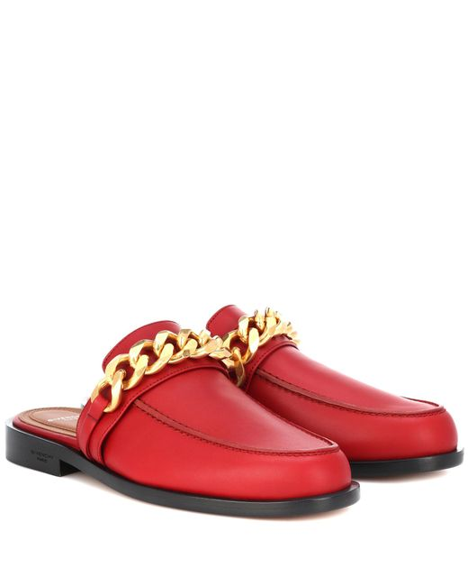 Givenchy - Red Chain Leather Slippers - Lyst