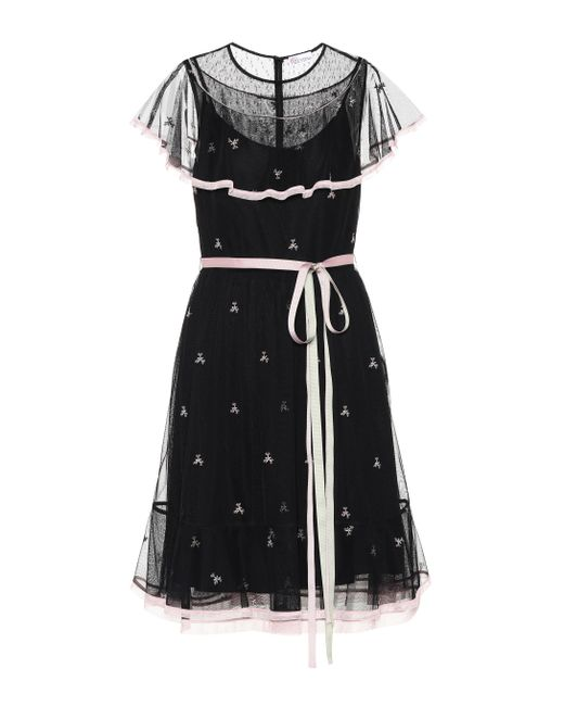5c88079d5891 RED Valentino Embroidered Minidress in Black - Save 30% - Lyst