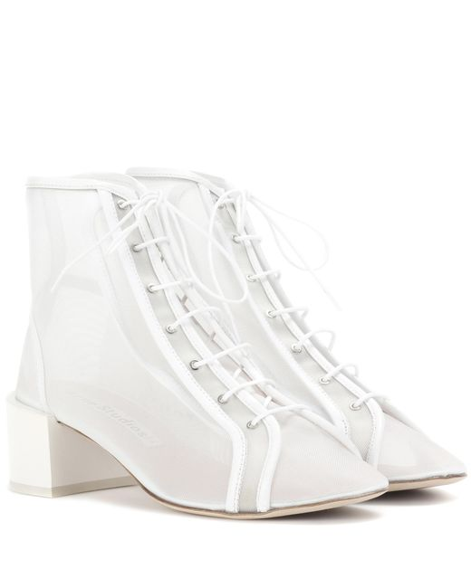 Acne | White Mable Mesh Ankle Boots | Lyst