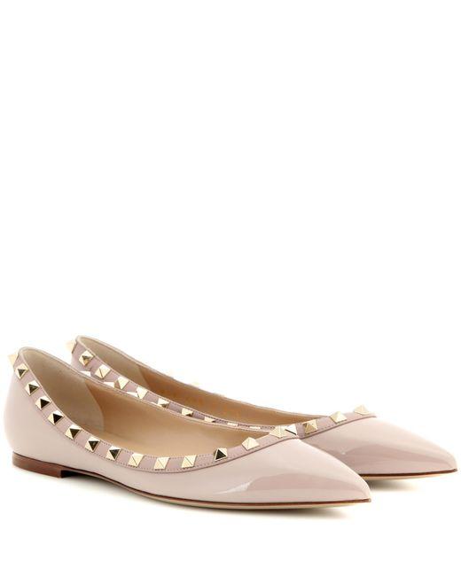 Valentino - Pink Rockstud Patent Leather Ballerinas - Lyst