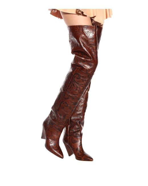8be02950050 ... Isabel Marant - Brown Lostynn Embossed Leather Boots - Lyst ...