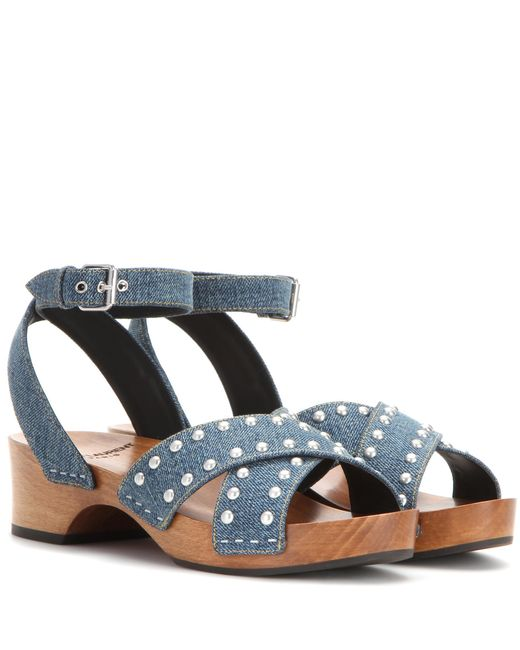 Saint Laurent | Blue Embellished Denim Sandals | Lyst