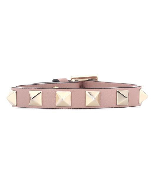 Valentino | Pink Garavani Rockstud Leather Bracelet | Lyst
