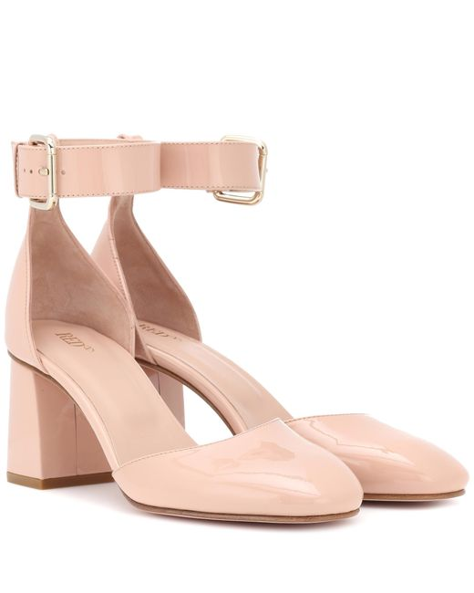 RED Valentino - Pink Red (v) Patent Leather Block Heel Pumps - Lyst