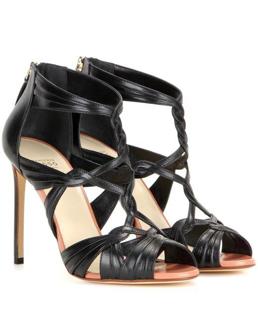 Francesco Russo   Black Leather Sandals   Lyst