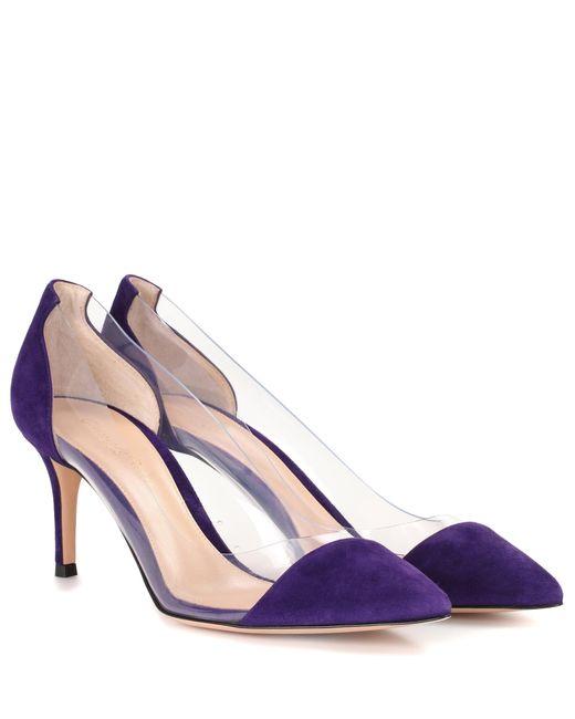 Gianvito Rossi - Purple Plexi Suede Pumps - Lyst