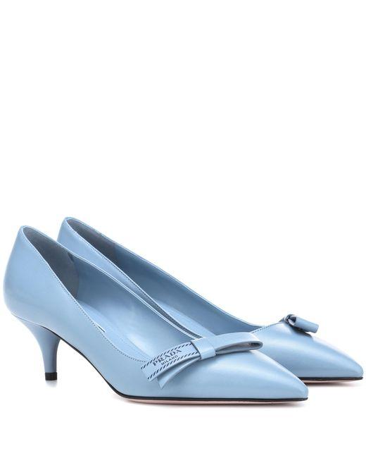 Prada - Blue Leather Pumps - Lyst