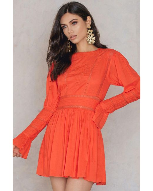 Free People | Orange Victorian Waisted Mini Dress | Lyst