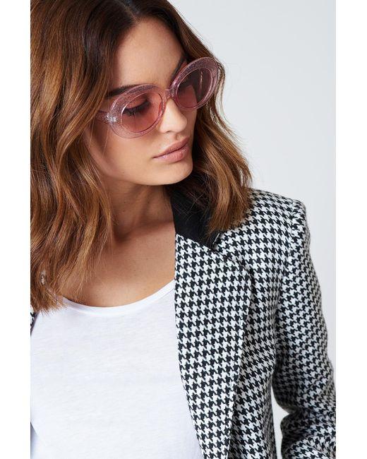 NA-KD - Oval Sunglasses Pink Glitter - Lyst