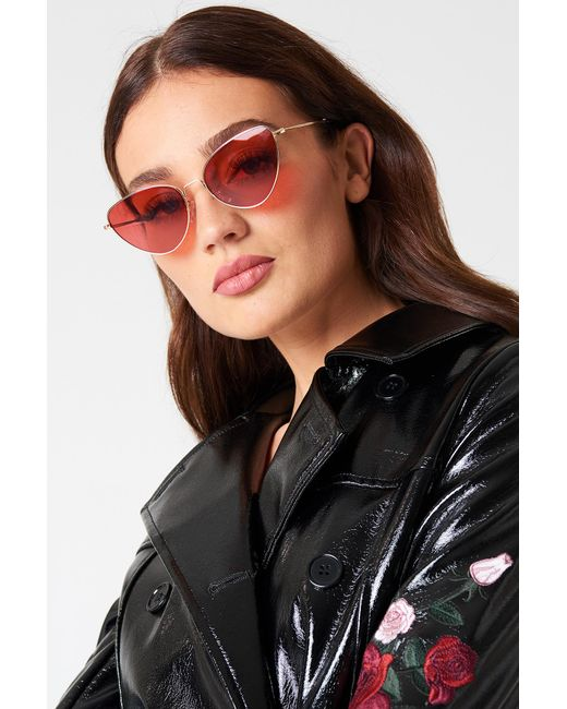 NA-KD - Metal Frame Cat Eye Sunglasses Red - Lyst