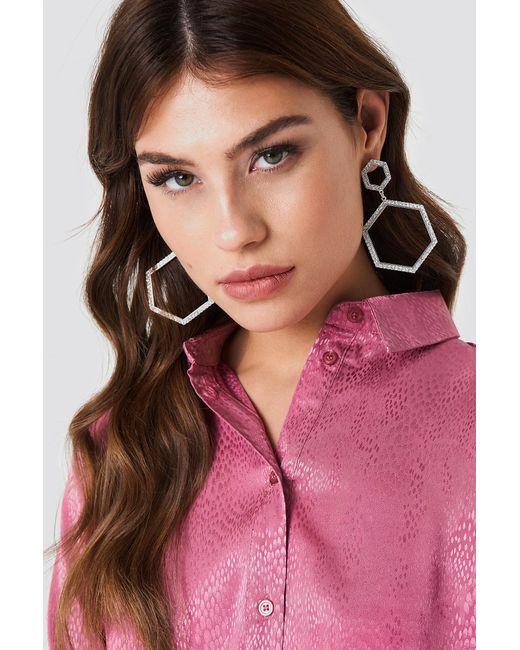 NA-KD - Metallic Rhinestone Hexagon Earrings - Lyst