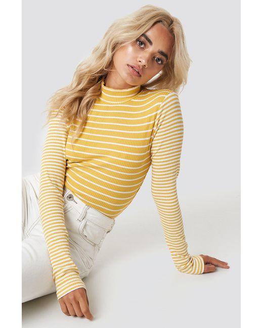 Glamorous - High Neck Top Yellow White Stripes - Lyst