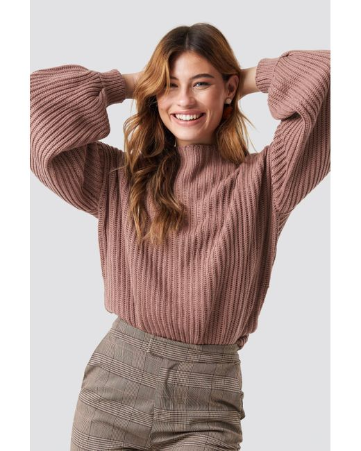 NA-KD - Multicolor Balloon Sleeve Knitted Sweater Dusty Dark Pink - Lyst