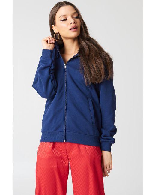 NA-KD - Blue Basic Zipped Hoodie - Lyst