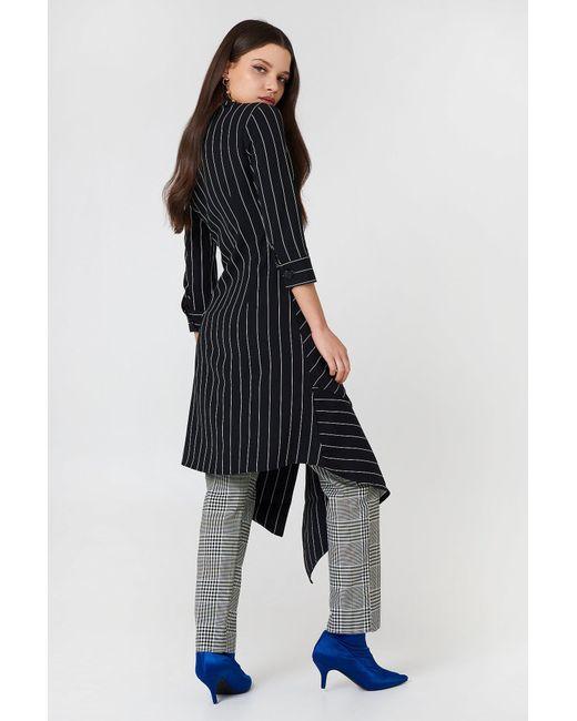 fe6cf1df261 ... Trendyol - Stripe Asymmetrical Dress Black - Lyst ...