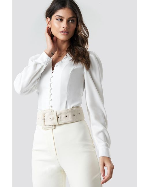 6bc47881c12fd3 NA-KD Front Button Puffy Sleeve Blouse White in White - Lyst