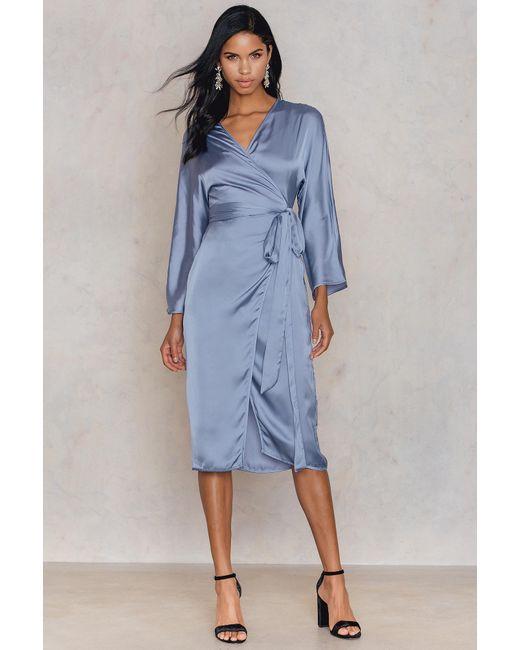 NA-KD - Blue Kimono Wrapped Dress - Lyst