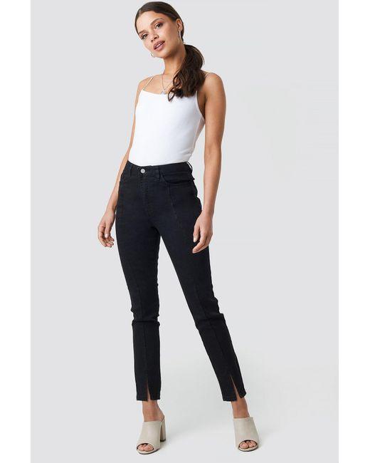 96d657e9b1aa Lyst - NA-KD Highwaist Skinny Front Slit Jeans Black in Black - Save 51%