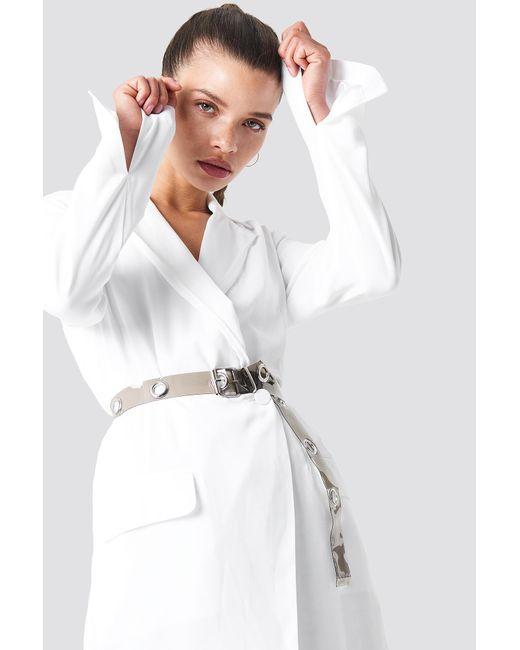 NA-KD - Gray Transparent Eyelet Belt - Lyst