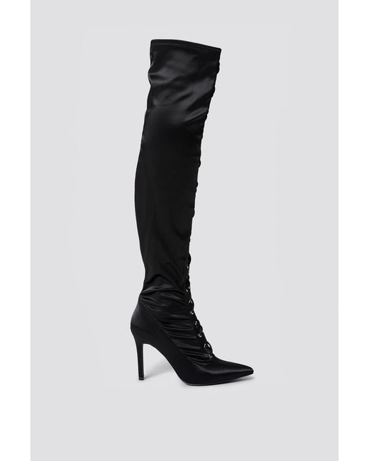 297977e0902 NA-KD Lace Up Satin Overknee Boots Black in Black - Lyst